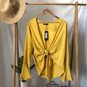 NWT Nastygal Yellow Knot Tie Top Blouse Shirt 4 US